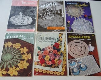 6 Vintage Crochet Doily Pattern Booklets from 1940s and 1950s - Floral Insertions and Floral Edgings - Pineapple Designs - Ruffled Doilies