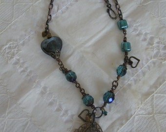 Copper and Teal Steampunk Heart Necklace