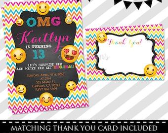 Emoji Invitation - FREE Thank You Card