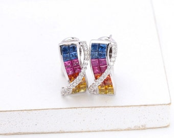LGBT Pride Rainbow Sapphire Earrings, Natural Ethical Gemstone Jewelry Abigail Rainbow Sapphire & Diamond Earrings in 18k Gold SKU: 22426
