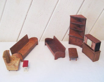 Miniature dollhouse furniture, living room furniture, wood couch, bench, upholstered chair, coffee table, television, cabinet, credenza