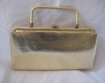 Gold clutch, evening formal bag, top handle bag, 50s 60s handbag