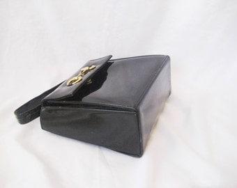 Black patent leather handbag, bags and purses, top handle bag purse, Susan Gail purse