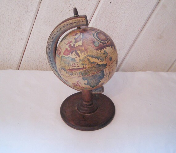 Vintage wood globe, Latin globe, miniature globe, old world charm, collectible globe