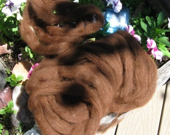 Red Brown alpaca and Merino blend roving by the oz.