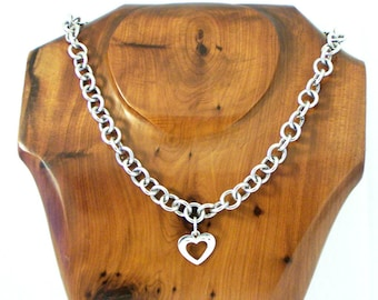 Vintage Sterling Silver Heart Necklace, Cut Out Heart Necklace, Belcher Chain Necklace, Chunky Silver Necklace, Rolo Chain, 17 inch