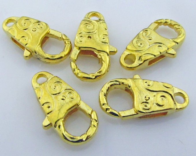 Bright goldtone lobster claws large 6 clasps