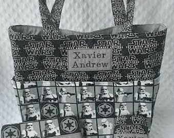 Large Diaper Bag Set With Changing Pad and Decorated Diaper Wipes Case in Star Wars, Personalized Diaper Bag Set, Baby Shower Gift, New Baby