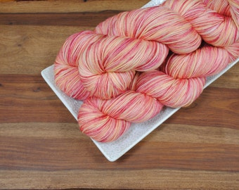 Princess Peach on Maple, Merino/Nylon Fingering Weight Hand-dyed Yarn