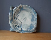 RABBIT Plate / Decorative Hare Dish / Ceramic Plate / BUNNY / Easters / Dish / Tray