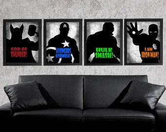 The Avengers - Set of 4 photo prints -  Poster Wall Art Super Hero Superhero Thor Hulk Iron Man Captain America Gray Grey Boys Room Decor