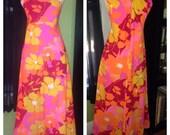 Vtg 60s Kiyomi Neon Floral Empire Waist Maxi Iolani