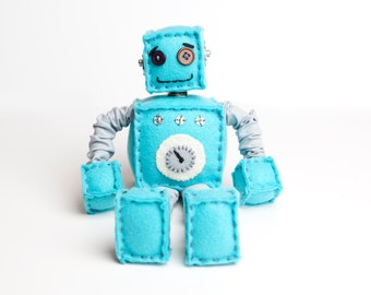 Blue Plush Felt Robot