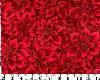 1 yard, Red Poinsettia with Gold Lining VIP