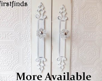2 Shabby Chic Pulls Glass Knobs with Tall Decorative Plates White Door Vintage Kitchen Cabinet Hardware Cupboard Crystal ITEM DETAILS BELOW