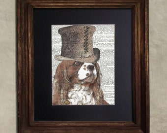 Dictionary Print: Mercurial King Charles Spaniel, Steampunk Dog, Dog Art Print