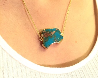 Turquoise Slice Necklace, 18K Gold Filled Chain