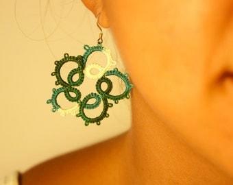 Green tatting earrings /green shades/ lace jewelry / dangle earrings / chrismas gift idea / long earrings / handmade / textile jewelry /