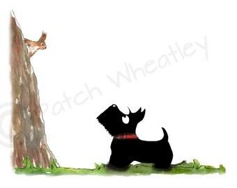 Scottie Dog, 'Squirrel'  Art Greeting Card