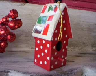 Collectibles/Keepsake ornaments/Glass, porcelain and papar bird house ornament/Christmas ornament/Bird house ornament/1996 handmade ornament