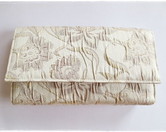Sale Bridesmaids clutch champange cream lotus flower clutch evening purse wedding bridal gift