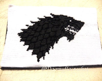 Crocheted yarn Cover with Stark wolf for laptop decoration