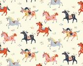Wild Horses by Miriam Bosfor Birch Fabrics -Wildland Fabric Organic Cotton  - Pink and White Fabric 100% Organic Cotton Horse Fabric Red