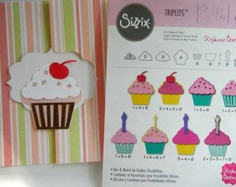 New Sizzix Triplits Cupcake Dies (Set of 9) Cut, Emboss, Stencil: Cardmaking Scrapbooking Supplies