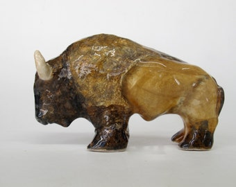 Bison Sculpture,Hand Made,Ceramic Buffalo,Collectible,In Stock,