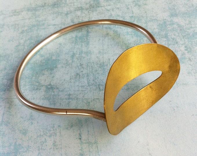 Cuff bracelet-Silver and Brass bracelet -oval shape bracelet - minimal bracelet
