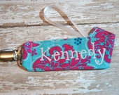Girly Binky Clip, Personalized Paci Holder, Pink and Blue