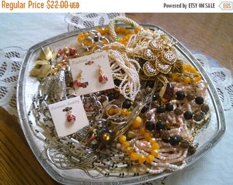 ON SALE Destash Vintage Jewelry Lot / Wearable Vintage Jewelry / Beading and Crafting Supplies