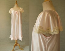 Pink Retro Nightgown With Cape Sleeves