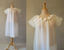 Cream Robe, Peignoir, Negligee With Rosettes