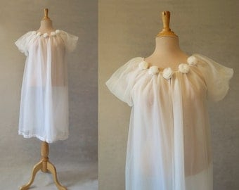 Cream Robe, Peignoir, Negligee With Rosettes
