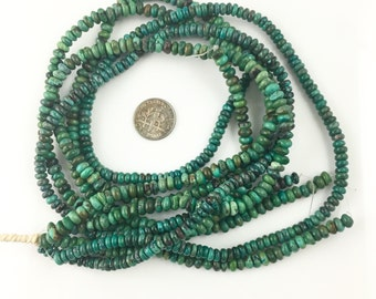 Chinese hubei turquoise rondelles beads-tibetan green turquoise rondelle beads-green blue gemstone beads-4-5 mm 16 inch strand NO.799