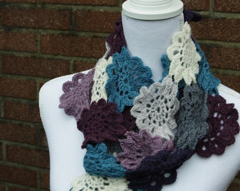 Crochet scarf, Crochet Japanese flowers scarf, Crochet Japanese Flowers, Crochet flowers, lucury scarf, scarf, purple scarf, grey scarf