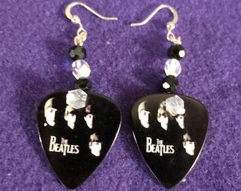 Beatles real guitar picks dangle earrings