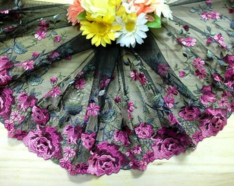 """DN718-9 """" Black Embroidered  Tulle Mesh Lace Trim by Yard"""
