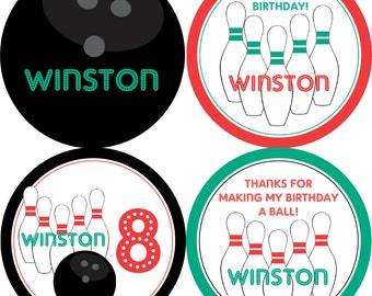 Bowling Party Circles - Turquoise, Red and Black, Bowling Ball Pins, Bowling Personalized Birthday Party Circles - Digital Printable File