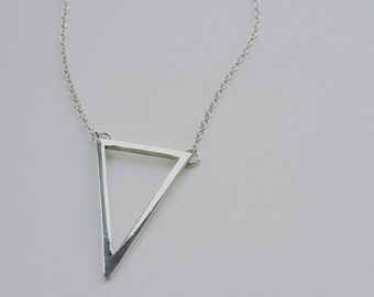 Triangle sterling silver geometric pendant necklace