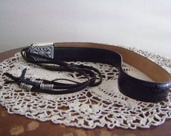 Vintage Brighton Leather Belt with Tassels and Turquoise