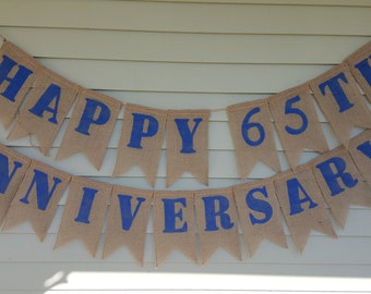 Happy 65th Anniversary burlap banner
