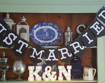 Just married cardstock banner