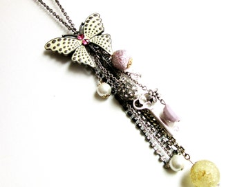 Extra Long Tassel Necklace Enamel Rhinestone Butterfly Pendant Ajusts to Brooch 34 Inch