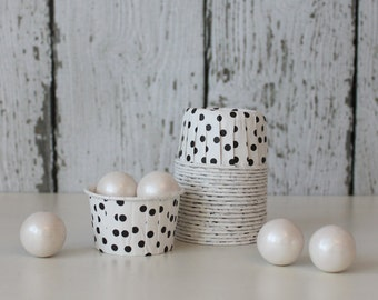 CANDY CUPS - White with Black Dots - Set of 20 : The Paper Doll