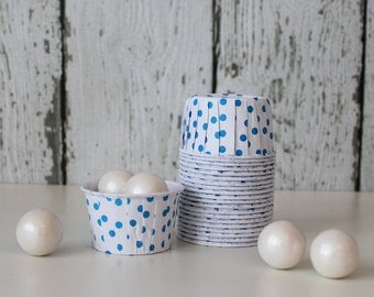 CANDY CUPS - White with Blue Dots - Set of 20 : The Paper Doll
