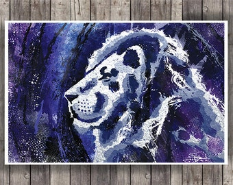 Lion Mixed Media Wall Art Print