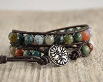 Natural wrap bracelet. Chunky beaded rustic leather wrap. Earthy double wrap bracelet