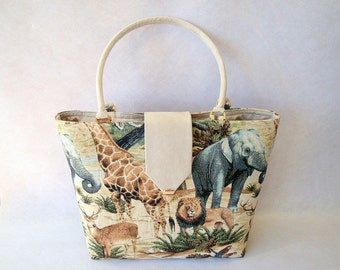 FREE SHIPPING Handbag, Shoulderbag, beige, ivory, multicolor, animals, jungle